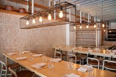 korean restaurant paired with moms 346 West Street (bet & Ave) New York, New York 10019 Restaurant New York, Cafe Restaurant, Restaurant Design, Restaurant Interiors, Cambridge Street, Cage Light, New York Museums, Order Food Online, Hells Kitchen