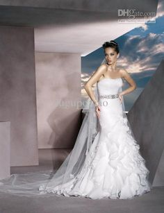 In love Wholesale Wedding Dresses - Buy 2014 New Style Satin Strapless Sleeveless A Line Flowers Bridal Gown Sweep Train Appliques Beads Garden Wedding Dresses, $226.0 | DHgate
