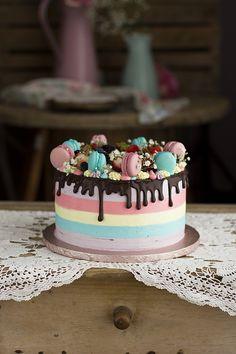 Bolo Fondant, Thank You Cake, Candy Birthday Cakes, Birthday Cake Decorating, Drip Cakes, Buttercream Cake, Creative Food, Yummy Cakes, Cupcake Cakes