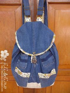 Fili&Lino Crafting Haven: Recycle Jeans/Denim Backpack Tutorial Denim Bag Tutorial, Backpack Tutorial, Drawstring Bag Pattern, Backpack Pattern, Diy Jeans, Mochila Tutorial, Mochila Jeans, Jean Diy, Jean Backpack