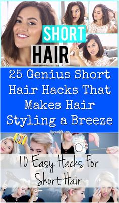 What can you do to style short hair? Try these cute easy hair hacks for short hair! 25 Genius Short Hair Hacks That Make Hair Styling a Breeze - Brilliant hair styling hacks you will use on a daily basis. Fixing Short Hair, Short Hair Hacks, Short Hair Styles Easy, Short Hair With Layers, Short Hair Cuts, Natural Hair Styles, How To Style Short Hair, Pixie Cuts, Sassy Haircuts