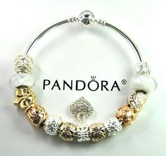 Authentic Pandora Silver bangle charm bracelet with European Charms gold laugh #Pandoralobsterbangleclaspclaw #European