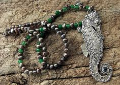 Big, Bold Silver Seahorse Pendant Necklace with real pearl and emerald beads and set with a spinel  - handmade from solid fine silver by SilverLabyrinth on Etsy