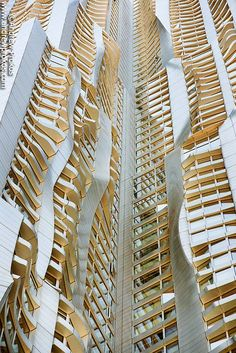 An architectural detail from the warped facade of 8 Spruce Street (New York by Frank Gehry)