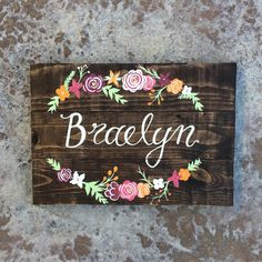 Custom hand painted name wooden sign with by TheRusticViolet