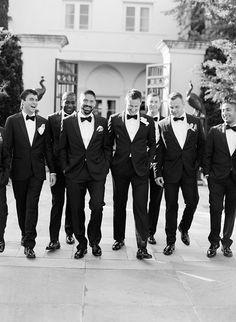 Groom and Groomsmen in Tuxedos   Brides.com