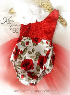Floral Tutu Romper - Vintage Floral Romper - Smash Cake - 1st Birthday - Second Birthday - Princess - Sparkle - Red sparkle - Christmas Rose Floral