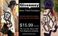 Usei Hoje-blog: Sorteio cardigan tribal Romwe ...