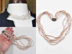 Vintage Sterling Silver Heishi Shell Necklace, Six Strand, Multi Strand, Bead, Boho, Filigree Box Clasp, Perfect Summer Style! #b970