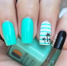This summer, channel your inner tropical goddess with these tropical nail design. - This summer, channel your inner tropical goddess with these tropical nail designs. Everything from palm trees to colorful hues! Tropical Nail Designs, Nail Designs For Summer, Tropical Nail Art, Style Tropical, Summer Design, Palm Tree Nails, Nails With Palm Trees, Super Nails, Cute Acrylic Nails