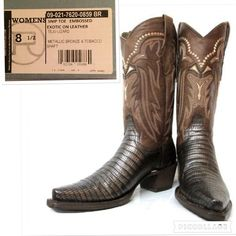 """New Roper Snip Toe Western Boots size 8 1/2 New in box, Be Exotic with these faux metallic Teju cowboy boots from Roper Snip toeSingle welt-stitch riding heel, all leather liningcushioned insolestitch pull13"""" shaftsize 8 1/2 Roper Shoes Winter & Rain Boots"""