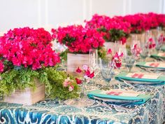 Flower boxes are interesting, the table cloth might be better as just a table runner