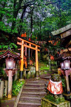 Temples dans la forêt de Fushimi Inari, Kyoto, Japon. http://tracking.publicidees.com/clic.php?progid=515&partid=48172&dpl=http%3A%2F%2Fsejour.govoyages.com%2Fvacances-voyage-japon-2%2F72