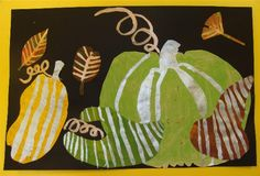 beautiful for fall - use metallic tempera for pumpkin lines and leaf veins