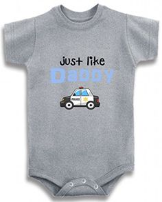 Gray Crew Neck Baby Tee Time Baby Boys Just Like Daddy Police Car One piece 612 Months -- Continue to the product at the image link.