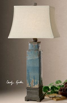 "38"" Distressed Blue Glazed Ceramic Table Lamp with Bronze Accents Reading Light 
