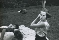 Bruce Davidson - Brooklyn Gang (Girl Smoking on Blanket in Park), 1959