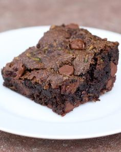 Chocolate Chip Zucchini Brownies Recipe on twopeasandtheirpod.com One of my all-time favorite brownie recipes! SO fudgy and divine! Vegan too!