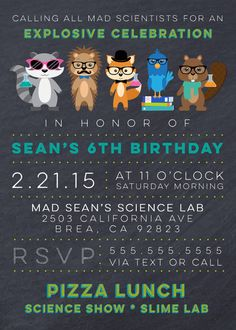 HIPSTER Mad Scientist Party Invite Science by aprettylittleparty