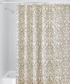 This Vanilla & Bronze Twigs Shower Curtain is perfect! #zulilyfinds
