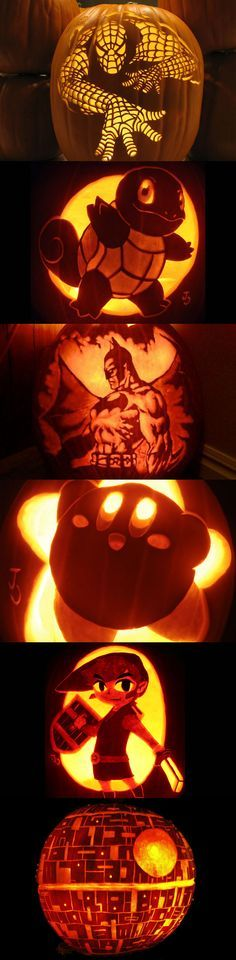 Cool Jack-O-Lanterns for Halloween - In order - Spiderman - Squirtle from Pokemon - Batman - Kirby - Link from Zelda - Death Star from Star Wars #VideoGames discover the true history of halloween http://halloween.fastblogger.uk/