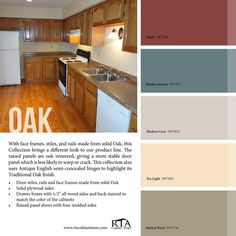 Kitchen Paint Colors with Honey Oak Cabinets Awesome Color Palette to Go with Oak Kitchen Cabinet Line for Those with Gallery Kitchen Colour Schemes, Kitchen Paint Colors, Room Paint Colors, Paint Colors For Living Room, Warm Kitchen Colors, Neutral Kitchen, Best Paint Colors, Red Kitchen, Rustic Kitchen