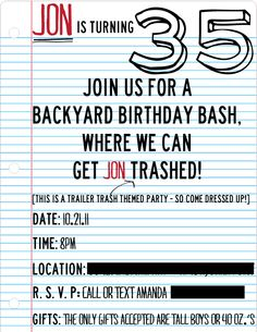 Trailer Trash Birthday invite