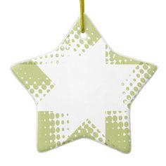 Vintage green halftone star ceramic star decoration