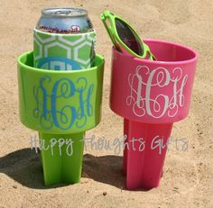 TWO Monogrammed Beach Drink Holders Sand Spiker