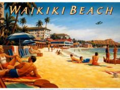 Waikiki Beach Surfing Sign is a brand new vintage tin sign made to look vintage, old, antique, retro. Purchase your vintage tin sign from the Vintage Sign Shack and save. Hawaiian Decor, Hawaiian Art, Vintage Hawaiian, Look Vintage, Vintage Art, Vintage Tiki, Vintage Labels, Vintage Images, Beach Posters
