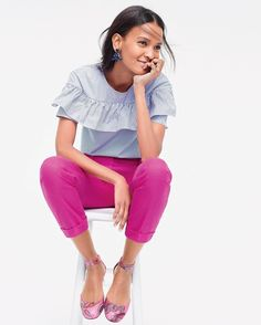 Striped ruffles + pink pants = wear-now perfection. Shop our Edie top and Rhodes pant via the link in our bio. #speakjcrew