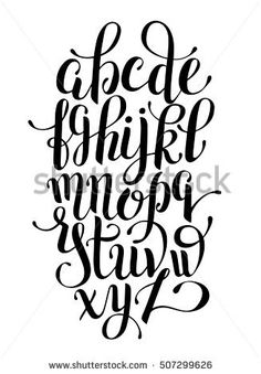 black and white hand lettering alphabet design, handwritten brush script modern calligraphy cursive font vector illustration