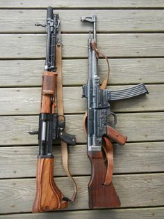 Fallschirmjägergewehr 42 and a Sturmgewehr 44 WWII German assault rifles. The 42 is actually a full power battle rifle like the except it has a full auto mode. Ww2 Weapons, Military Weapons, Arsenal, Battle Rifle, Submachine Gun, Chevrolet Suburban, Fire Powers, Assault Rifle, Cool Guns