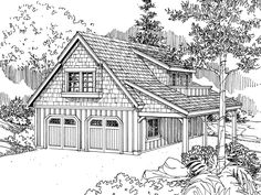 This Craftsman garage plan can park up to two cars. Both doors are the same size at 10' wide and 8' tall. In the back is a hobby room with a work bench, sink and mechanical room. Two sets of stairs access the second floor. During raining days the second floor can be access from the hobby room, or if the weather is pleasant there is a set of stairs that runs along the outside of the garage. On the second floor there is a loft with space for a sink, cook top and refrigerator. There is also an…