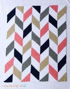 Living the Craft Life: Herringbone C2C Blanket - Free Graph
