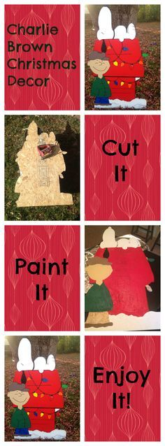 Easy DIY Peanuts Charlie Brown Christmas Uses grid method to transfer design to plywood. I've always wanted to make Peanuts Christmas cut-outs. This is inspiration. Christmas Yard Art, Christmas Wood Crafts, Noel Christmas, Christmas Signs, Christmas Projects, Holiday Crafts, Christmas Ornaments, Elegant Christmas, Christmas Stuff