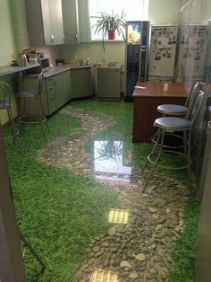 Wow, love these floor murals, what a statement in a bathroom. Cute dolphins swimming around your home. Small Space Interior Design, Interior Design Living Room, Floor Design, House Design, Best Flooring For Kitchen, Floor Murals, Floor Art, Epoxy Floor, Future House