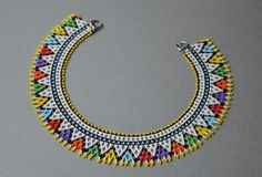 Colorful beaded necklace summer with geometric, gerdan necklace huichol jewelry, collar for woman