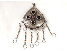 Bermil pear pendant brooch silver cabochons Zaiane Morocco Middle Atlas XXth