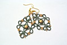 Dark green lace earrings with gold glass beads made in Italy | tatted lace | tatting lace  | lightweight earrings | beadwork