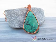 Copper Wire Wrapped Gemstone Pendant, Wire Woven Chrysocolla Necklace, Green and…