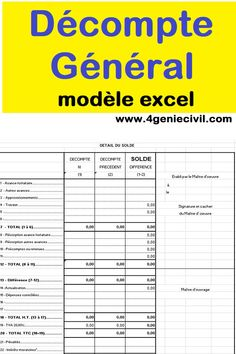 Exemple de modèle de décompte général définitif en feuille excel #fichierexcel #gestionchantier #geniecivil #btp Planning Excel, Autocad, Construction, Public, Dragon, Report Design, Data Charts, Building, Dragons