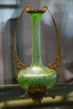 glass & bronze vase