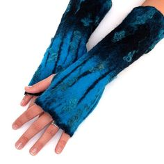 Fingerless gloves handfelted black and turquoise by ArtMode, $43.00