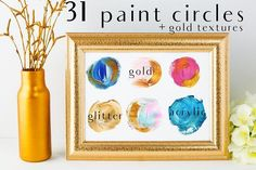 acrylic circles+gold glitter PNG by holaholga on @creativemarket  -- FREE until Sunday, 08/27/2017.