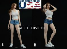 1//6 Scale Hot Girl Mini Jeans /& Tank Top Set for 12 inch Female Figures Body
