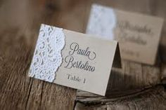 Table Place Cards Brown/Lace Design