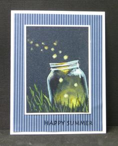Fireflies of Summer by hobbydujour - Cards and Paper Crafts at… Firefly Painting, Firefly Art, Mason Jar Cards, Mason Jars, Hand Made Greeting Cards, Altenew, Camping Crafts, Butterfly Cards, Paper Pumpkin