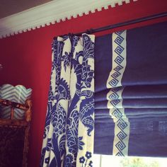 window treatments, roman shades with tape trim, coordinated drapes (jamie meares)