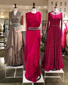 Beautiful Gowns with superb embellishments with embroidery and detailing. Modern silhouettes and traditional embellishments with modern drape. Saree Gown, Lehnga Dress, Designer Party Wear Dresses, Indian Designer Outfits, Indian Wedding Outfits, Indian Outfits, Indian Attire, Indian Weddings, Dress Wedding